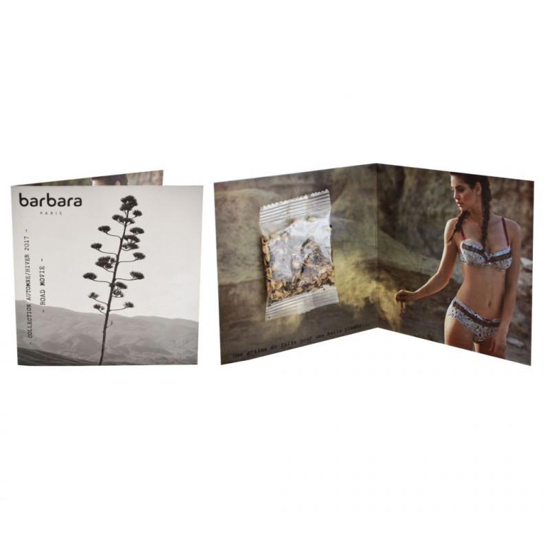 Carte publicitaire personnalisée 2 volets + sachet de graines, goodies original vert écologique, objet pub naturel