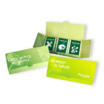Coffret 3 sachets de graines publicitaire personnalisé, goodies original vert écologique, objet pub naturel