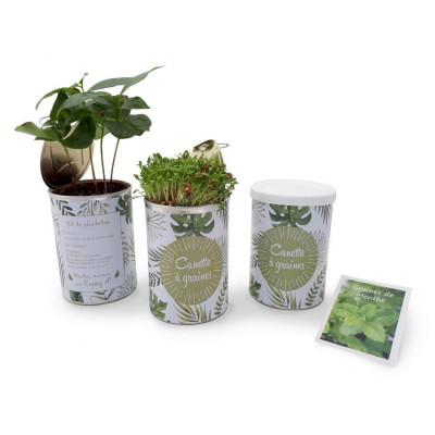 La canette à graines publicitaire est un kit de plantation complet, entièrement personnalisée en quadri à votre communication