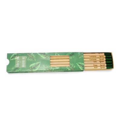 Coffret de 6 crayons à graines publicitaires, en bois de cèdre, avec capsule biodégradable renfermant des graines.