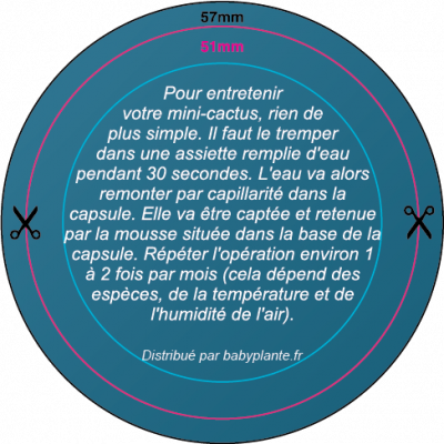 Cartonette ronde personnalisée recto/verso pour offrir une jolie babyplante en cadeau goodies objet publicitaire