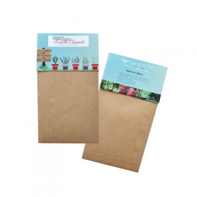 Sachet de graines personnalisés publicitaire, fleurs, aromatiques, légumes, goodies écologiques, objet pub nature, papier kraft