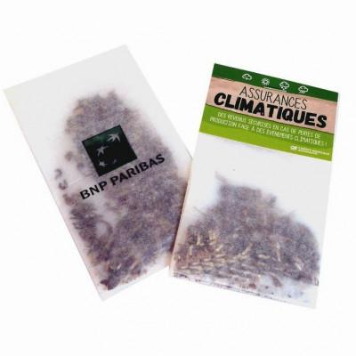 Sachet de graines exotiques personnalisés publicitaire, goodies écologiques, objet pub nature, papier calque, naturel, fleurs